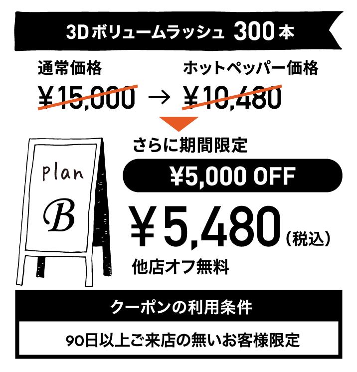 プランB:3Dボリュームラッシュ 300本 ¥5,480(税込) クーポンの利用条件:90日以上ご来店の無いお客様限定 有効期限:2020年1月30日まで